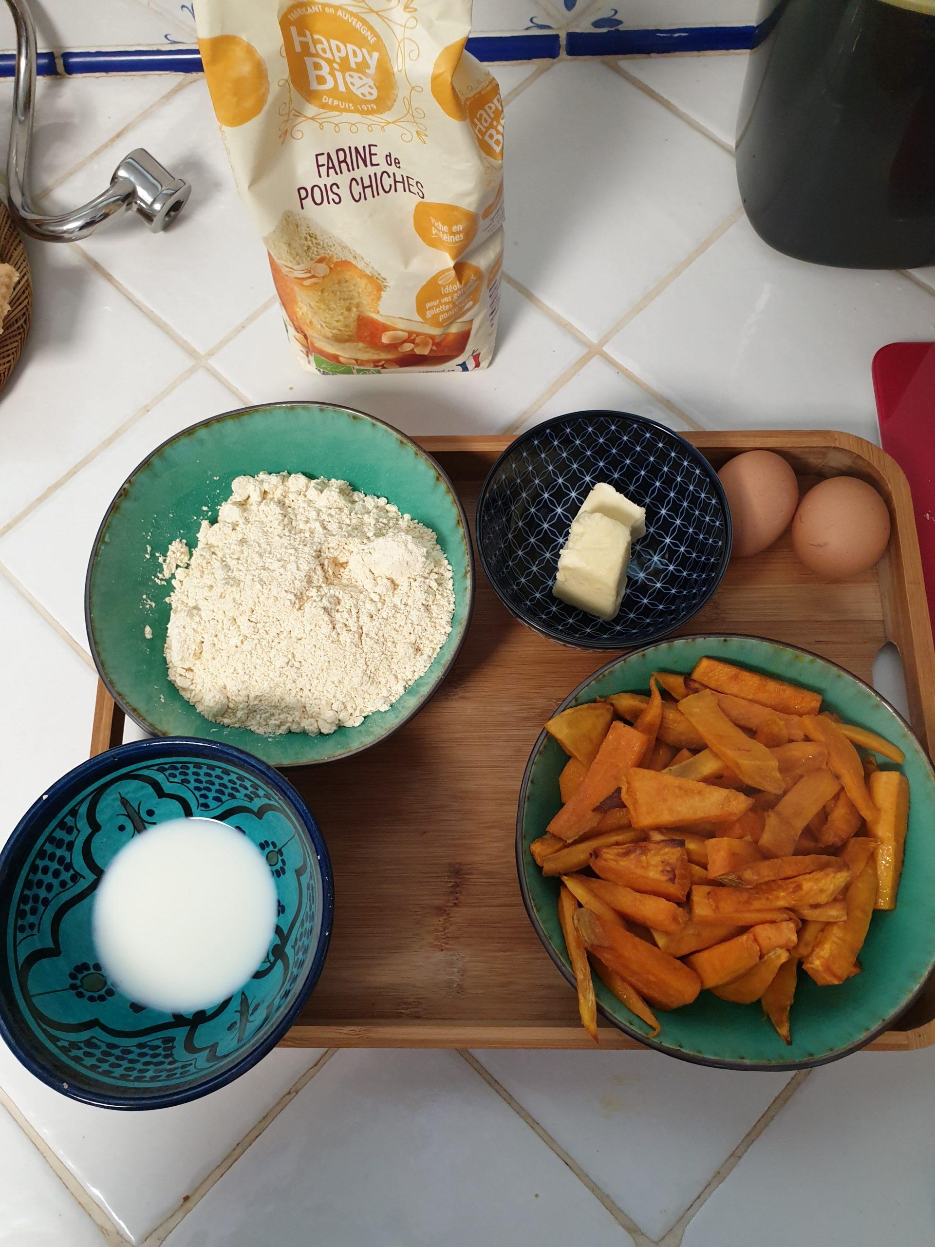 ingrédients gaufres à la patate douce