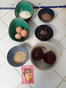 ingrédients brownie chocolat betterave