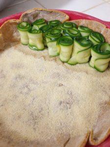 tarte lamelles de courgette en rouleaux