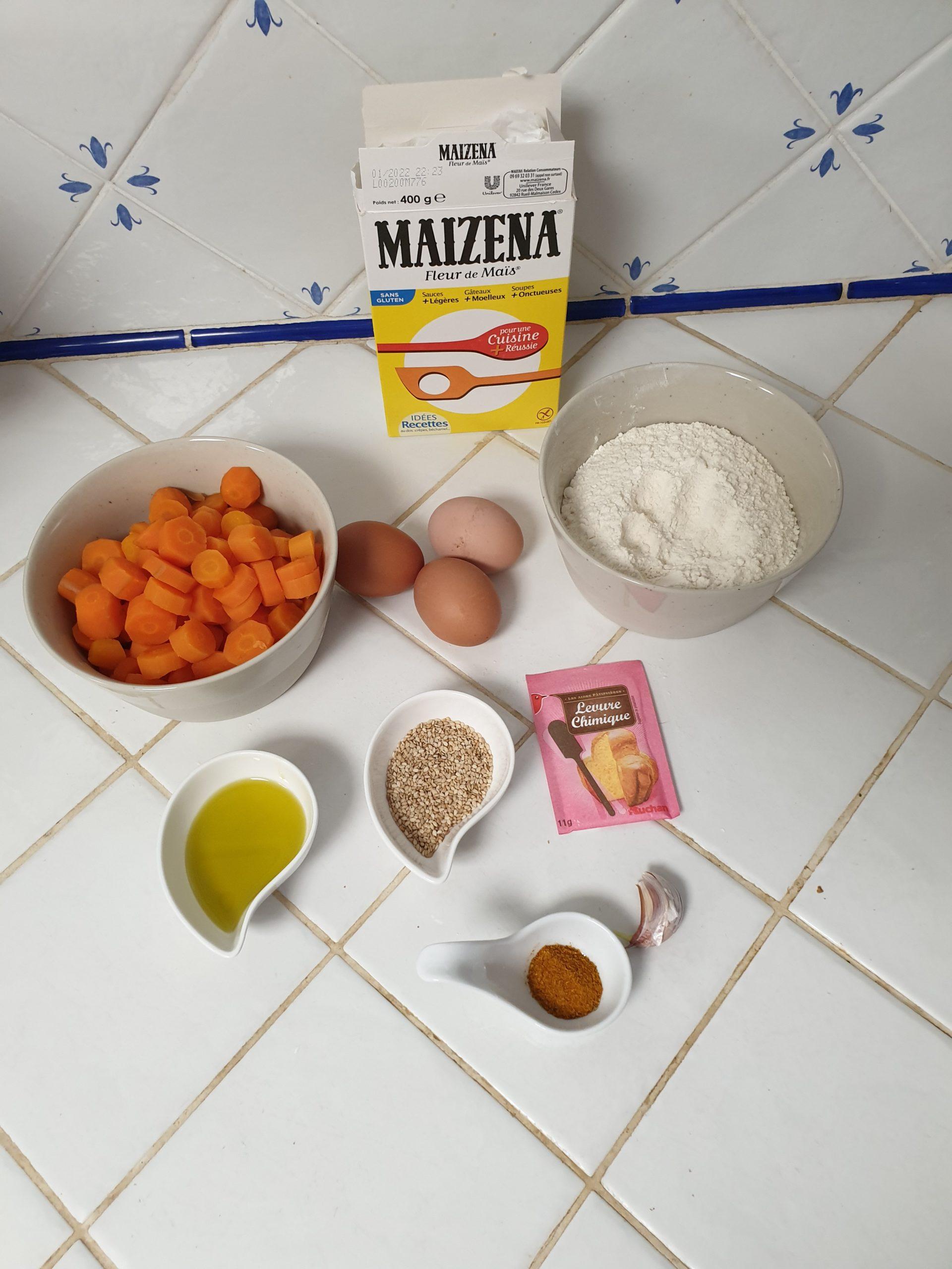ingrédients gaufre à la carotte