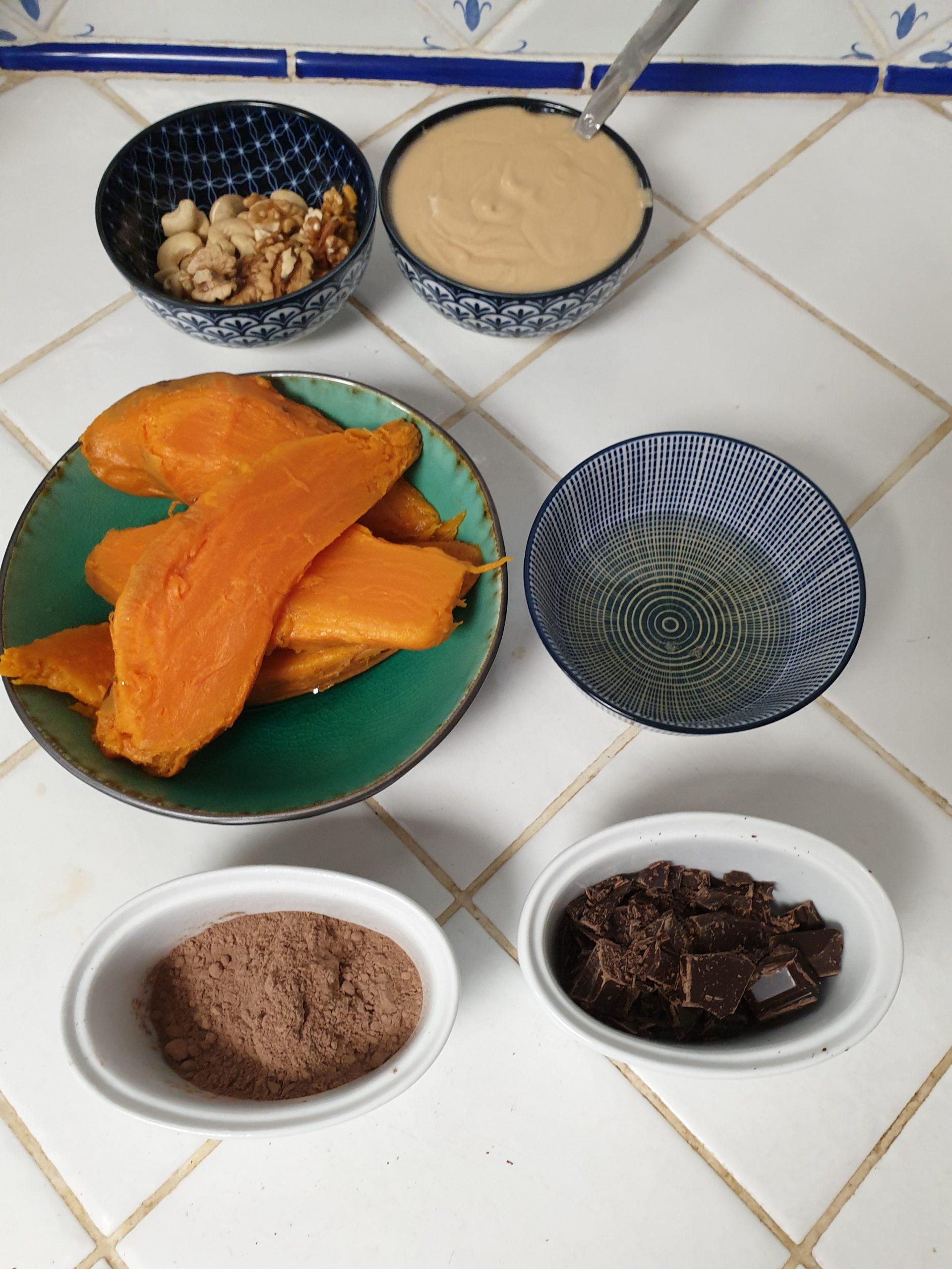 ingrédient brownie patate douce chocolat