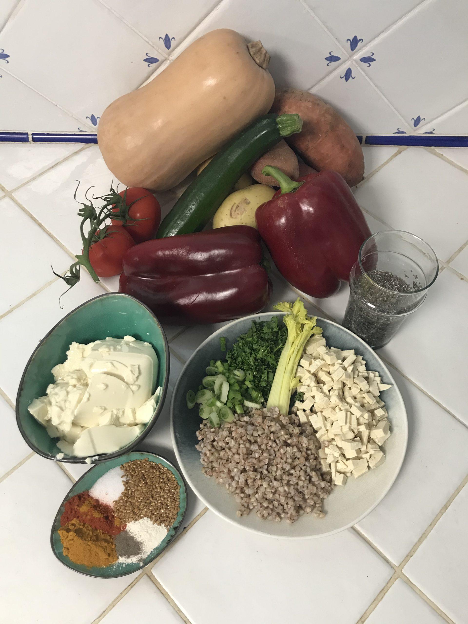 ingrédients légumes farcis vegan
