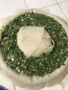 mélange épinard tofu dans le moule