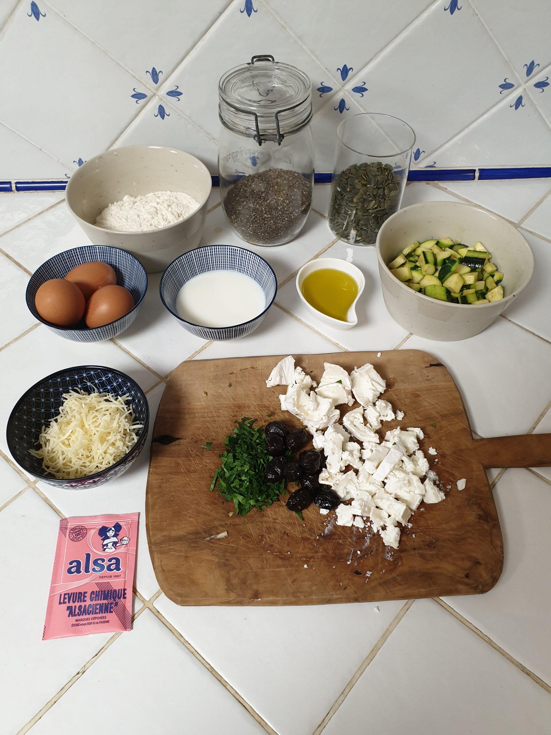 ingrédients cake chève courgette