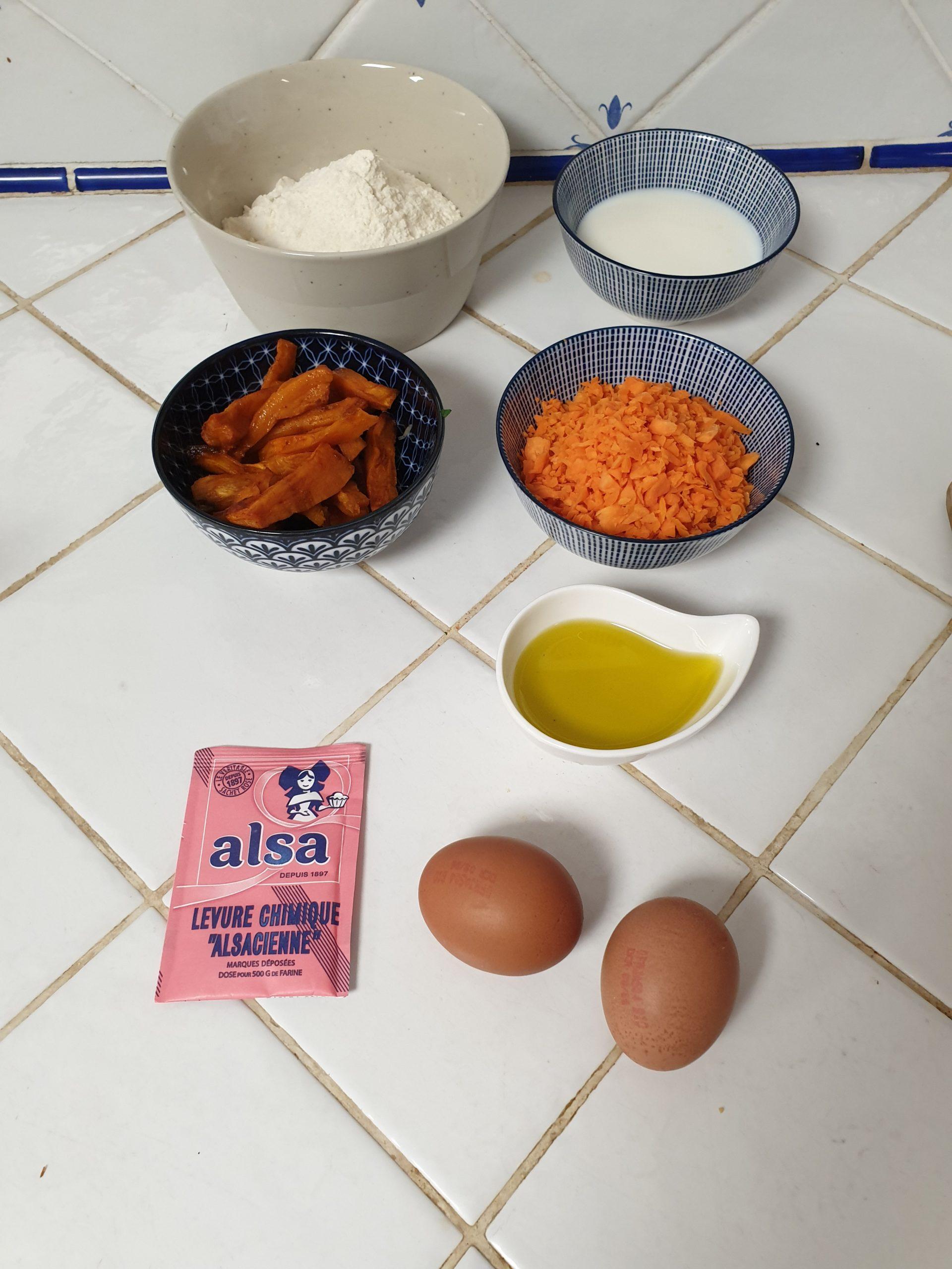 ingrédients cake carotte patate douce