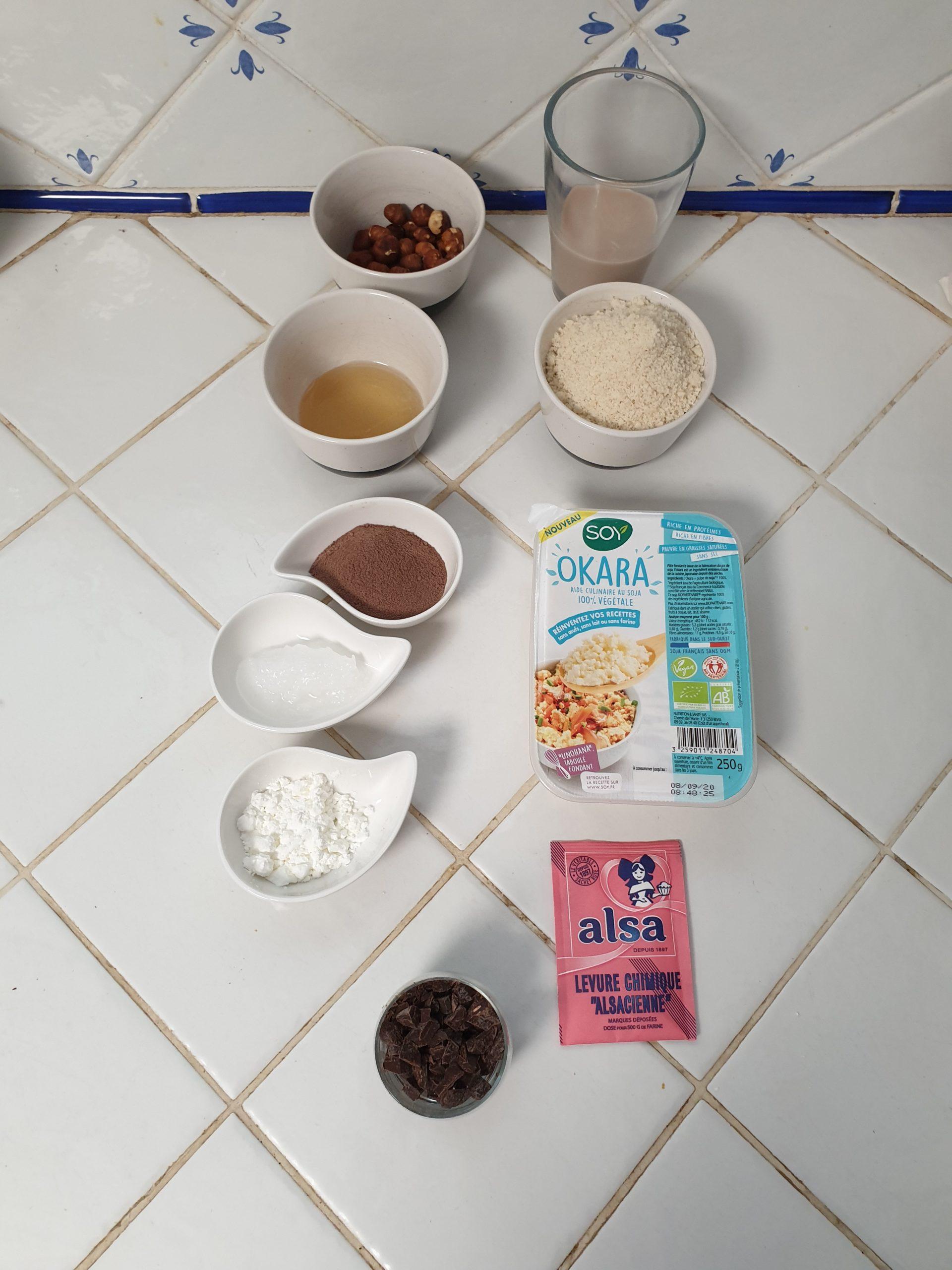 ingrédients brownie vegan